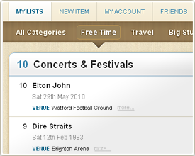 A Concerts & Festivals list at MyLifeListed