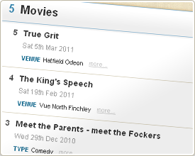 A Movies list at MyLifeListed